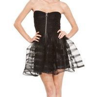 FILM NOIR STRAPLESS DRESS - Betsey Johnson