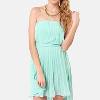 Divine Design Light Blue Strapless High-Low Dress