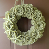 Beach Wreath - 16 inch Summer Wreath - Nautical Wreath in Sandstone with Starfish and Pearls
