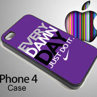 iPHONE 4 / 4S CASES Apple Phone Purple EVERY DAMN DAY Just Do It Nike Hard Cover