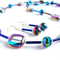 Iridescent blue beaded necklace set - glass beaded necklace by Sparkle City Jewelry