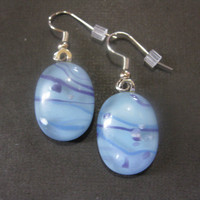 Pastel Blue Earrings with Blue and Purple Accents, Pierced, Dangle Earrings, Earring Jewelry - Cool Breeze - 1319 -2
