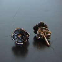 Dark Flower Sterling Silver Stud Earrings by NiciLaskin on Etsy