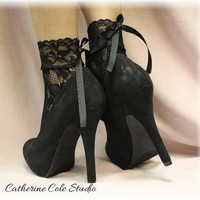 "BLACK  Baby doll Lace socks for heels retro 80""s look Holiday parties stretch lace socks flats or heels catherine cole studio"