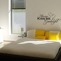Always Kiss Me Goodnight Hearts Vinyl Wall Art Decal - Black