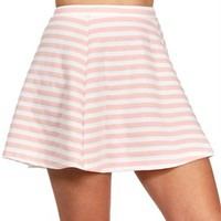 Blush/White Striped Skater Skirt