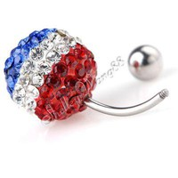 16G Belly Ring Body Navel Ball Button Bar Steel France
