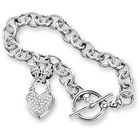 1/4 CT. T.W. Diamond Heart Link Bracelet in Sterling Silver - View All Bracelets - Zales