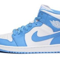 Amazon.com: Nike Air Jordan 1 Mid White University Blue (554724-106): Shoes