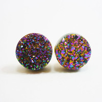 Rainbow Flame Druzy Stud Earrings n49 by AstralEYE on Etsy