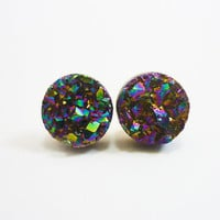 Rainbow Flame Druzy Stud Earrings n55 by AstralEYE on Etsy