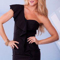 Black One Shoulder Ruffle Mini Dress with Back Zipper