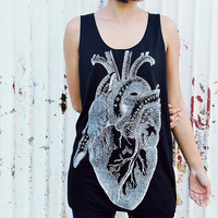 Heart Anatomy tank top - Women t-shirt tank top black Tunic Unisex Shirt men Vest Women Sleeveless Singlet Black T-Shirt Size M L