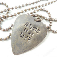 Music is My Llife - Hand Stamped brass pendant necklace, Guitar Pick Necklace