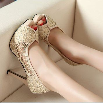 New Sexy Lace Hollow out Platform High Heels Women Stiletto Peep-toe Pumps Shoes