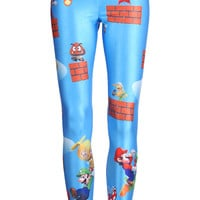 "ROMWE | ""Super Mario"" Blue Leggings, The Latest Street Fashion"