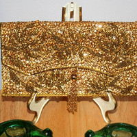 Gold Bead and Sequin Purse Clutch 1960s