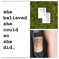 Believe in yourself  temporary tattoo Set of 2 by Tattify on Etsy