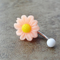 Peach Daisy Flower Belly Button Jewelry by CuteBellyRings on Etsy