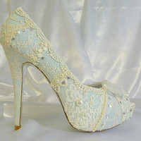 Something Blue Lacey bridal shoes with 5 1/4 inch heels .. with vintage lace and Swarovski crystals