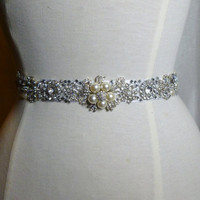 Cinderella Sash  ..  crystal, glass and pearl wedding sash