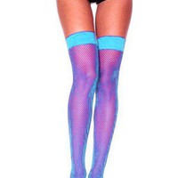 Music Legs 4900 Turquoise Fishnet Thigh High Stockings Rave Sexy Go Go Dancer Festival Wholesale Supplier FREE SHIPPING