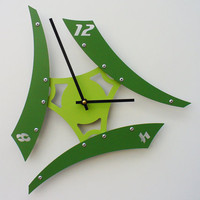 Sweep V Modern Clock Green Custom Colors Available by All15Designs