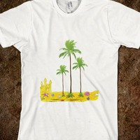 Beach palms sand castle shell - Tree graphics and designs