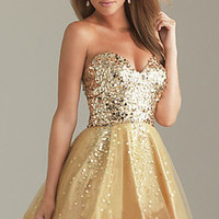 Shining Gold Sequin Attire Bodice Short Bridal Prom Homecoming Party Dress