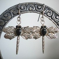Dragonfly Earrings - Sterling Silver and Onyx