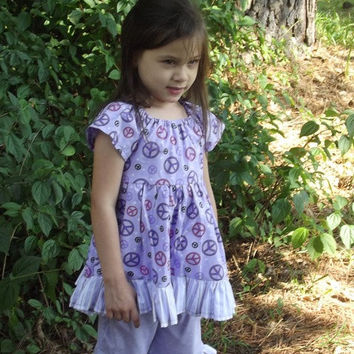 Girl's peasant Dress,size 3 with ruffles and ruffled Capri's, tie sash, short sleeves