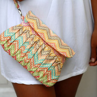 Chevron Clutch in multicolor green, mustard yellow, orange and red