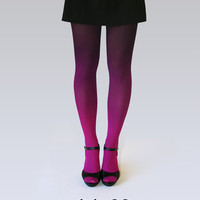 Ombre tights fuchsia-black
