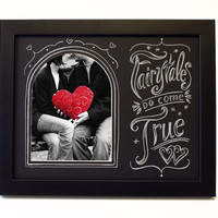 Fairy Tales Do Come True Hand Lettered Art Decorative Picture Frame