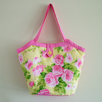 SALE - Handmade Pink Summer Floral Bucket Shoulder Bag | Luulla