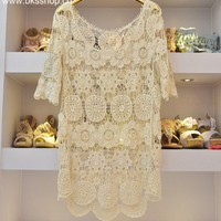 Beige lace short sleeve sweater