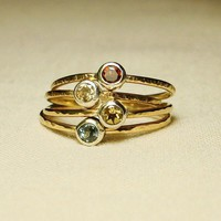 BACKORDERED - Halo of Gold - Hammered Stack Ring with Faceted Stone