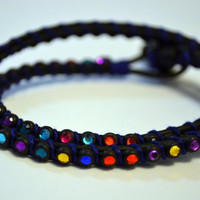 Rainbow Double Wrapped Leather Bracelet by AccentTheOrdinary