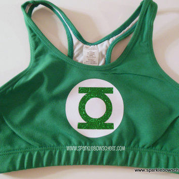 Green Lanman Super Hero Cotton Sports Bra by SparkleBowsCheer