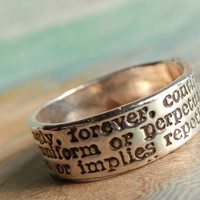 Always Definition, Commitment Ring in Recycled Fine Silver, Eco Friendly Gift for Her or Him, Custom Sizes 4 5 6 7 8 9 10 11 12 13 14 15