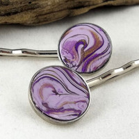 Purple and Gold Swirls Clay Bobby Pins by theotherstacey on Etsy