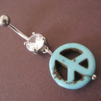 Belly Button Ring Turquoise Stone Peace Sign Bead by Azeetadesigns