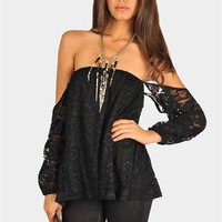 Perfection Lace Off The Shoulder Top - Black
