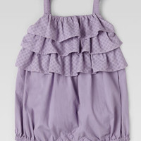 Gucci GG Print Ruffled Romper, Lilac