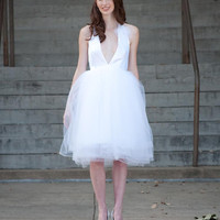 Halter Wedding Gown/ Dress with Tulle Skirt by crisciver on Etsy