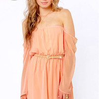 LULUS Exclusive Maiden Heaven Off-the-Shoulder Peach Dress