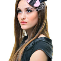 Pink & Black Bubblegum Fascinator With Bow - Unique Vintage - Cocktail, Evening & Pinup Dresses
