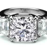 Engagement Ring - Large Cushion Cut Diamond Engagement Ring Cadillac Step cut Side Stones in 14K White Gold - ES897CUWG