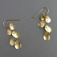 Solid Gold Dangling Earrings - Leaves Cluster -14k Gold - Solid Gold Earrings