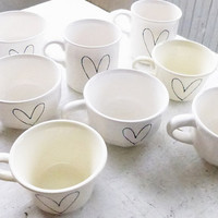 wedding guest favors - heart on vintage tea cups and mugs - custom bulk prices
